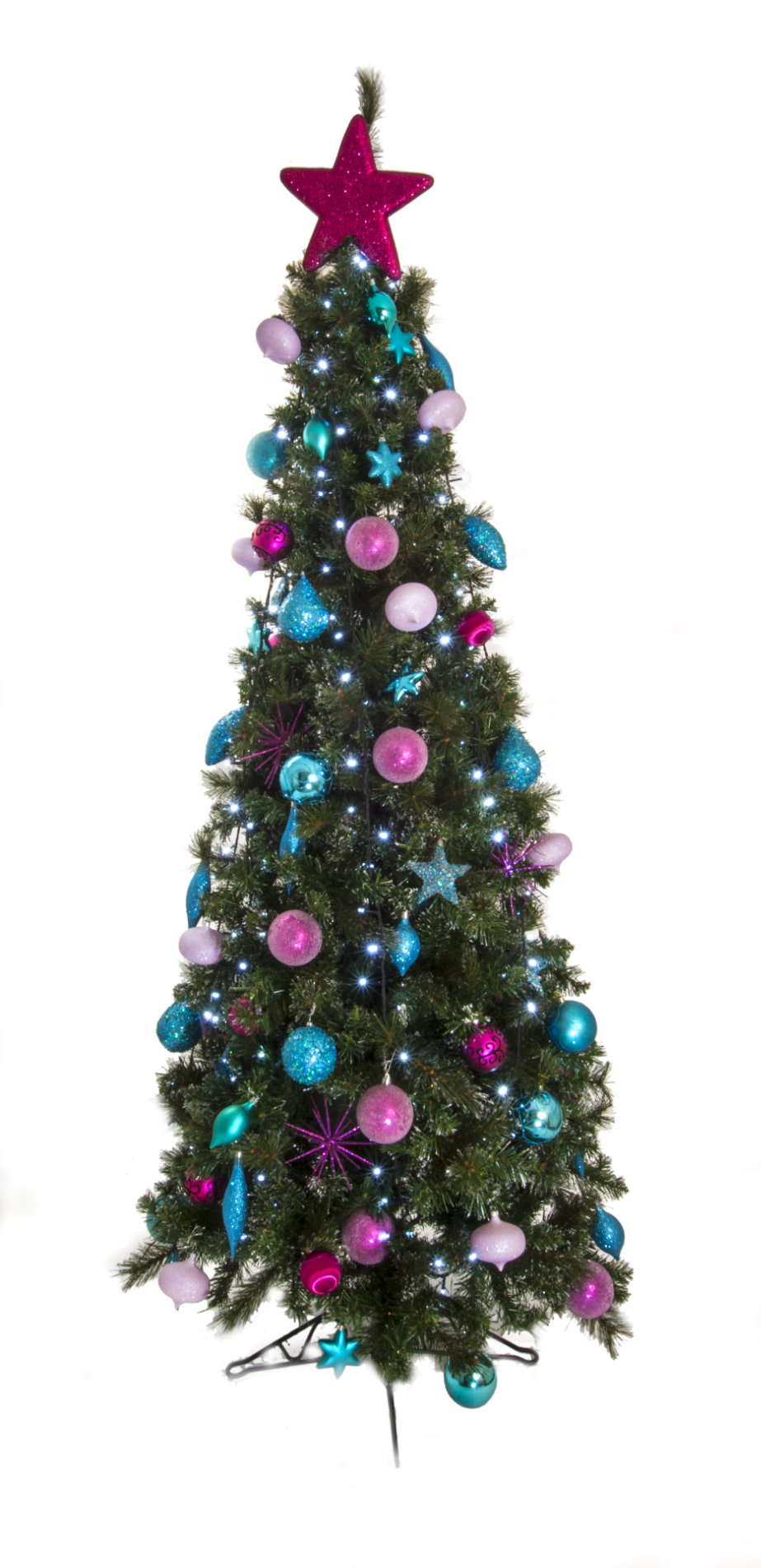 Slimline Artificial Christmas Tree (Silver, Pink and Purple) - Green ...