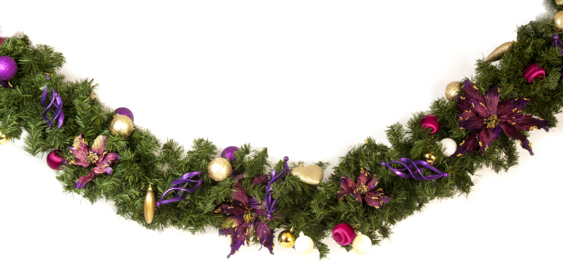 Purple Christmas Tree.Garland Pink Purple And Chartreuse